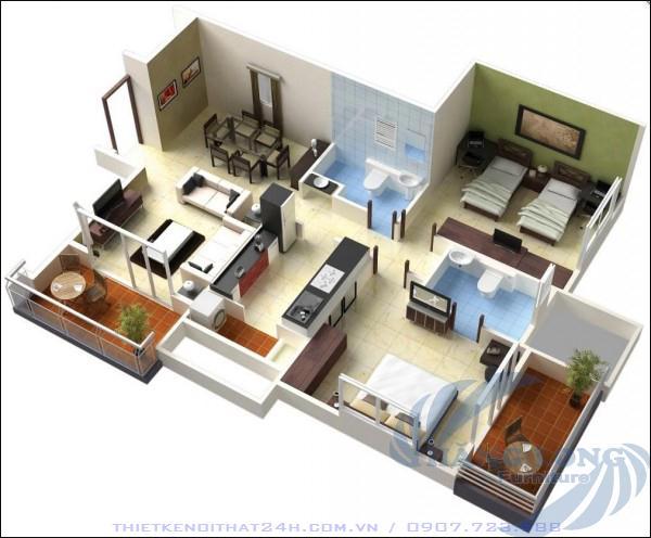 12 Thiết kế căn hộ nhỏ 2pn - P2