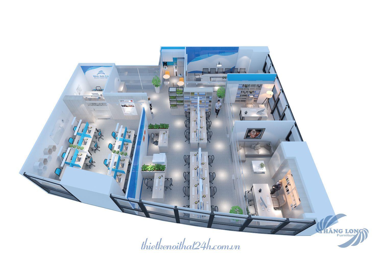 Thiết kế thi công nội thất văn phòng du học Minh Anh