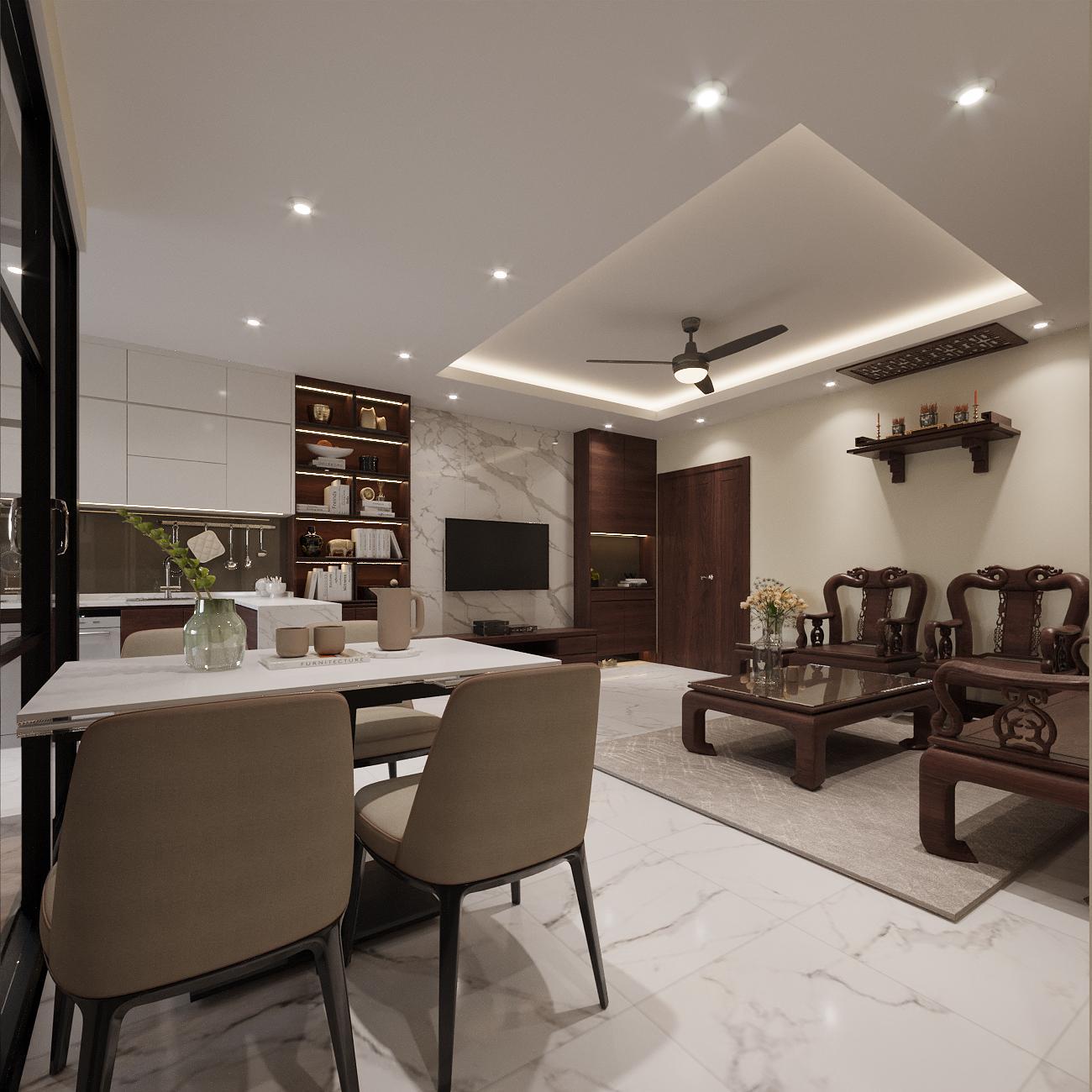Thiết kế và thi công nội thất anh Sinh, chung cư Pháp Vân, Hà Nội