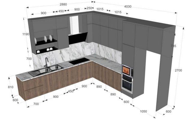 Một số tiêu chuẩn thông dụng dành khi thiết kế tủ bếp