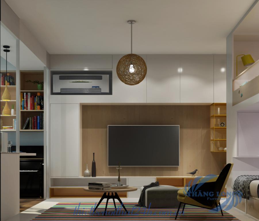 Phòng khách thiết kế nhà 20m2 đầy đủ tiện nghi