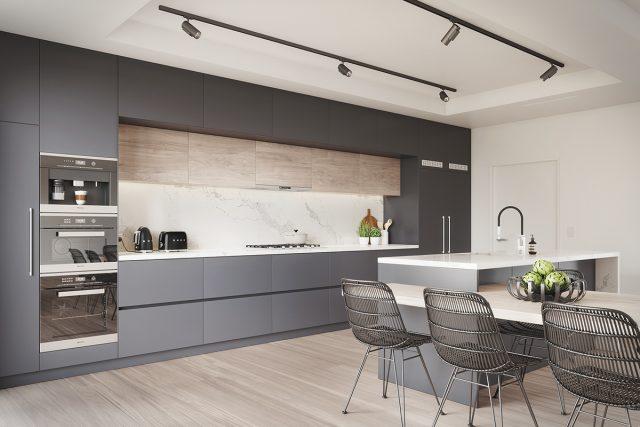 Thiết kế tủ bếp hiện đại cao kịch trần để tối ưu hóa công năng sử dụng