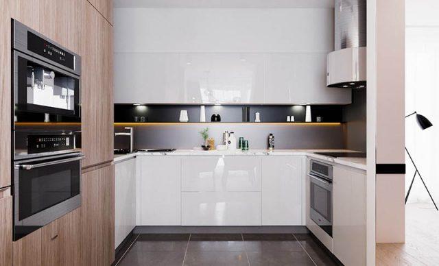 Thiết kế tủ bếp hình chữ U dành cho những phòng bếp có diện tích nhỏ và vừa