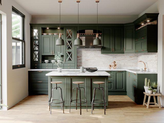 Thiết kế tủ bếp tân cổ điển chữ L kết hợp quầy bar