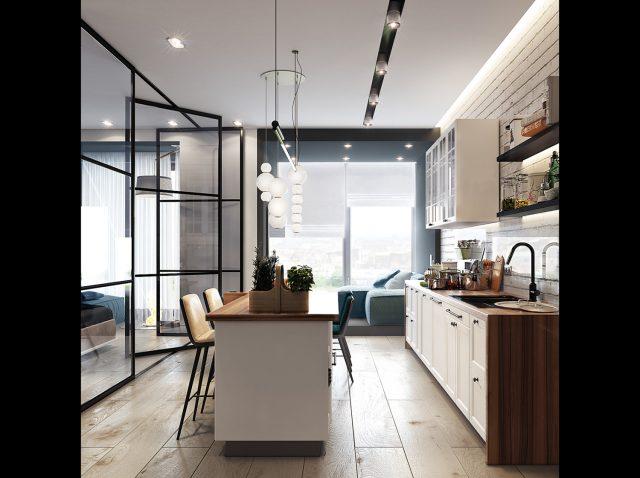 tủ bếp kết hợp quầy bar làm bàn ăn hiện đại