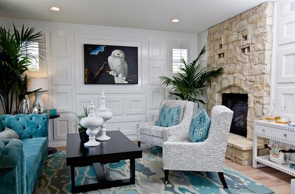 Thiết kế nội thất phòng khách với tông màu xanh mát